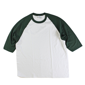 RGRiley | Gildan Mens White/Green 3/4 Sleeve Baseball T-Shirts | Irregular
