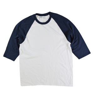 RGRiley | Gildan Mens White/Navy 3/4 Sleeve Baseball T-Shirts | Irregular