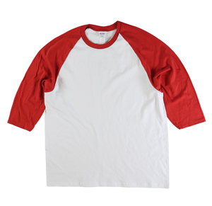 RGRiley | Gildan Mens White/Red 3/4 Sleeve Baseball T-Shirts | Irregular