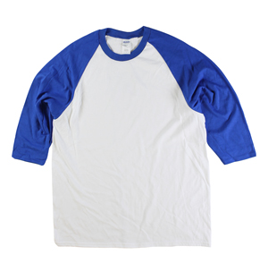 RGRiley | Gildan Mens White/Royal 3/4 Sleeve Baseball T-Shirts | Irregular