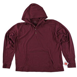 RGRiley | Adult Brandy Wine Hooded Henley | Hanes Wholesale Closeout