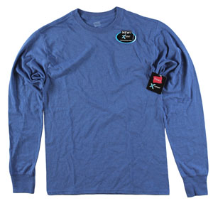 RGRiley | Adult Long Sleeve Dark Cerulean T-Shirts | Bulk Wholesale Closeout
