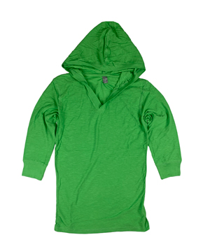 RGRiley | J.America Ladies Lime 3/4 Sleeve Hooded V-Neck T-Shirts | Closeout