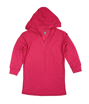 RGRiley | J.America Ladies Wildberry 3/4 Sleeve Hooded V-Neck T-Shirts | Closeou