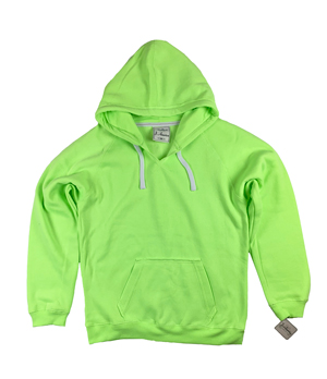 RGRiley | J.America Womens Neon Green V-Neck Pullover Hoodies | Closeout