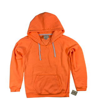 RGRiley | J.America Womens Neon Orange V-Neck Pullover Hoodies | Closeout