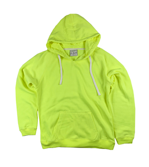RGRiley | J.America Womens Neon Yellow V-Neck Pullover Hoodies | Closeout