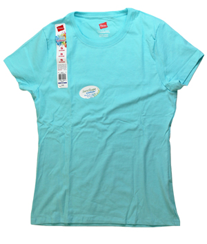RGRiley | Bulk Womens Blue Radiance Neck T-Shirts | Hanes Closeout