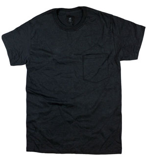 RGRiley | Adult Bulk Black Pocket Tee Shirts | Hanes Irregular