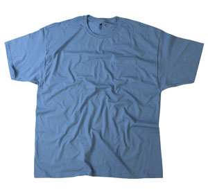 RGRiley | Adult Bulk Denim Blue Pocket Tee Shirts | Hanes Irregular