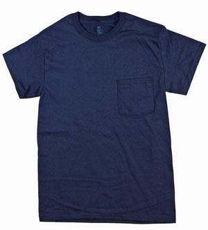 RGRiley | Adult Bulk Navy Pocket T-Shirts | Hanes Irregular