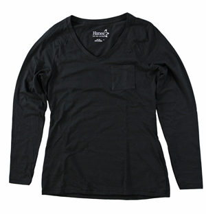 RGRiley | Hanes Womens Ebony Long Sleeve Pocket T-Shirts | Closeout