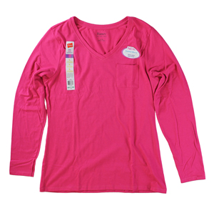 RGRiley | Hanes Womens Sizzling Pink Pocket Long Sleeve T-Shirts | Closeout