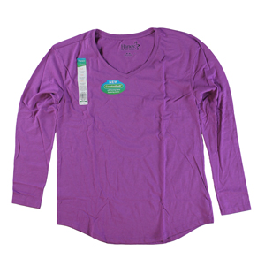 RGRiley | Womens Amethyst Tri Blend Long Sleeve V-Neck T-Shirts | Closeout