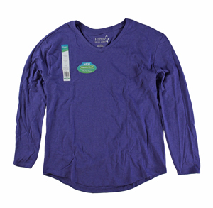 RGRiley | Womens Blue Tri Blend Long Sleeve V-Neck T-Shirts | Closeout