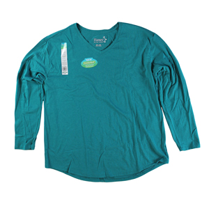 RGRiley | Womens Emerald Tri Blend Long Sleeve V-Neck T-Shirts | Closeout