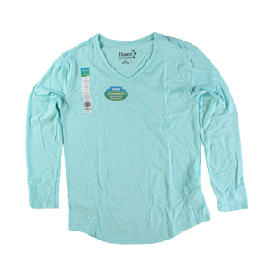 RGRiley | Womens Mint Tri Blend Long Sleeve V-Neck T-Shirts | Closeout