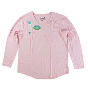 RGRiley | Womens Pink Tri Blend Long Sleeve V-Neck T-Shirts | Closeout