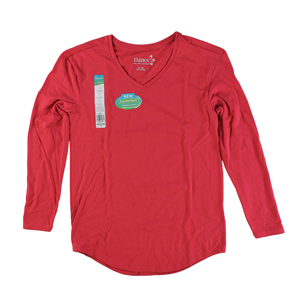RGRiley | Womens Red Tri Blend Long Sleeve V-Neck T-Shirts | Closeout
