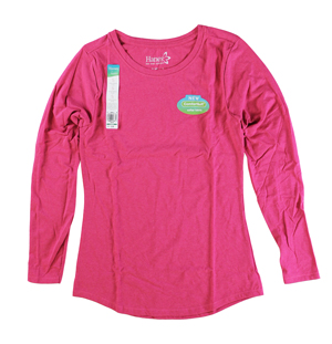 RGRiley | Hanes Womens Jazzberry Pink Tri Blend Long Sleeve T-Shirts | Closeout