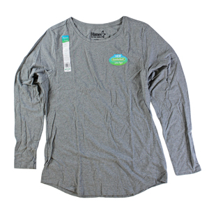 RGRiley | Hanes Womens Mid Charcoal Tri Blend Long Sleeve T-Shirts | Closeout