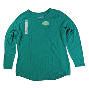 RGRiley | Hanes Womens Perfect Emerald Tri Blend Long Sleeve T-Shirts | Closeout