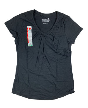 RGRiley | Hanes Womens Black Shirred V-Necks T-Shirts | Closeout