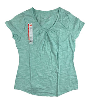 RGRiley | Hanes Womens Green Shirred V-Necks T-Shirts | Closeout