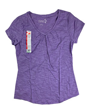 RGRiley | Hanes Womens Purple Shirred V-Necks T-Shirts | Closeout