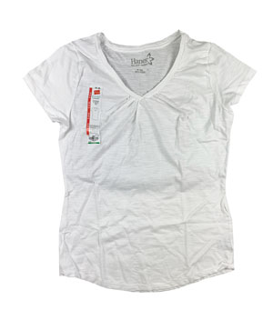 RGRiley | Hanes Womens White Shirred V-Necks T-Shirts | Closeout