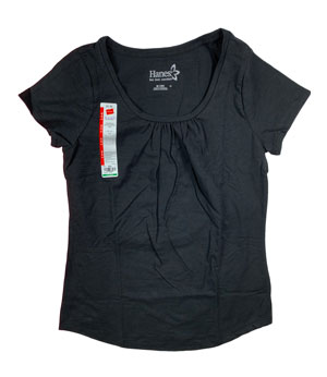 RGRiley | Hanes Womens Black Scoop Neck T-Shirts | Closeout