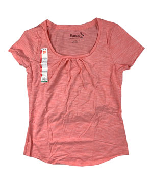 RGRiley | Hanes Womens Pink Scoop Neck T-Shirts | Closeout
