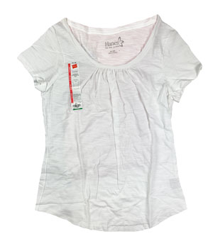 RGRiley | Hanes Womens White Scoop Neck T-Shirts | Closeout