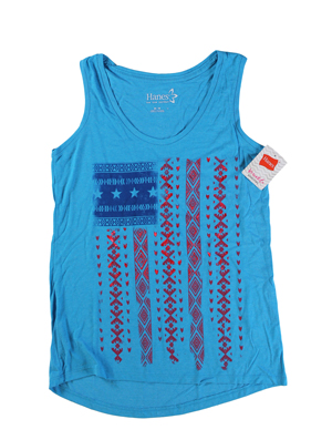 RGRiley | Hanes Womens Ocean Heather Printed Tank Tops | Closeout