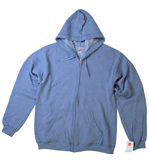 RGRiley | Mens Hanes Bijou Blue Zipper Hood Sweatshirts | Closeout