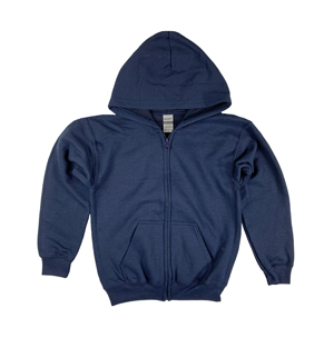 RGRiley | Gildan Boys Navy Heavy Blend Zipper Hoodies | Irregular