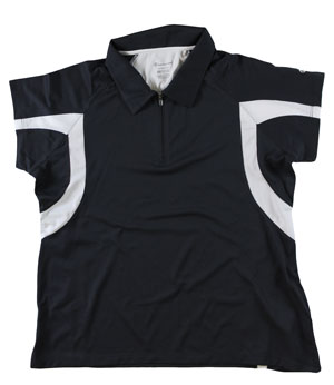 RGRiley | First Quality Womens Champion Black/White Polo Shirt | Closeout