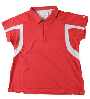 RGRiley | First Quality Womens Champion Scarlet/White Polo Shirt | Closeout