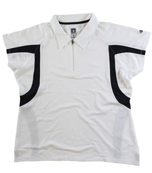 RGRiley | First Quality Womens Champion White/Black Polo Shirt | Closeout