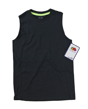RGRiley | Fruit of the Loom Boys Black/Safety Green Muscle Shirts | Closeout