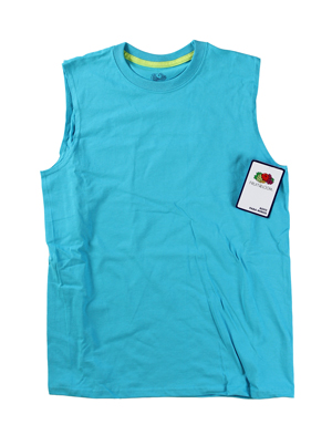 RGRiley | Fruit of the Loom Boys Turquoise Muscle Shirts | Closeout