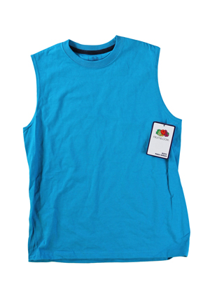 RGRiley | Fruit of the Loom Boys Marlin Teal Muscle Shirts | Closeout