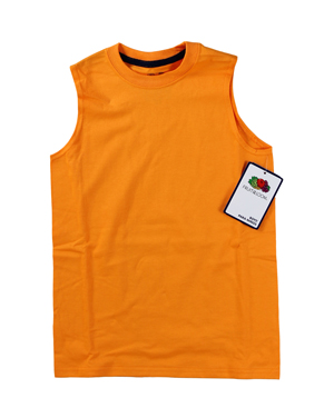 RGRiley | Fruit of the Loom Boys Orange Muscle Shirts | Closeout