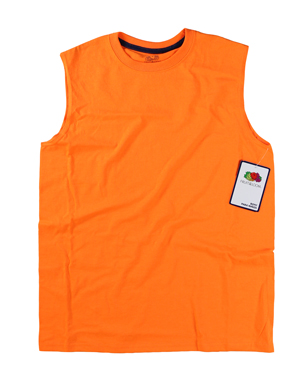 RGRiley | Fruit of the Loom Boys Safety Orange Muscle Shirts | Closeout