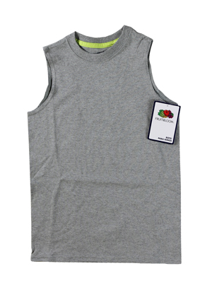 RGRiley | Fruit of the Loom Boys Steel Grey Muscle Shirts | Closeout