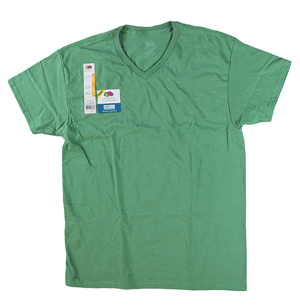 RGRiley | Mens Fruit Of The Loom Blue Green Flash Heather V-Neck T-Shirts | Clos