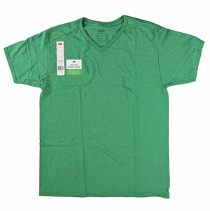 RGRiley | Mens Fruit Of The Loom Retro Green Heather V-Neck T-Shirts | Closeout