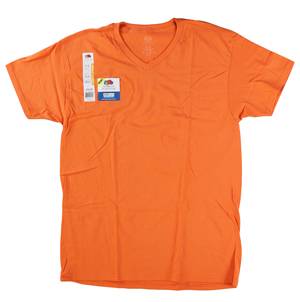 RGRiley | Mens Fruit Of The Loom Tangerine V-Neck T-Shirts | Closeout