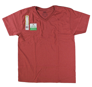 RGRiley | Mens Fruit Of The Loom Tango Red Heather V-Neck T-Shirts | Closeout