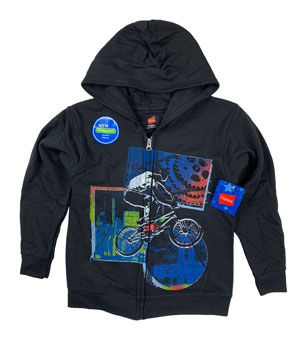 RGRiley | Hanes Boys Black Printed Fleece Zipper Hoodies | First Quality